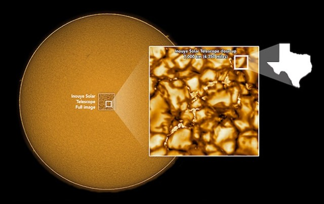 Area Matahari yang dipotret dengan teleskop Matahari Daniel K. Inouye. Kredit: NSO/AURA/NSF