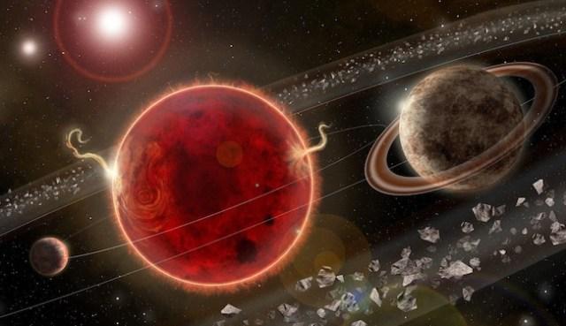 Ilustrasi sistem Proxima Centauri. Proxima c adalah planet kedua dari sistem ini dan ada di sebelah kanan. Kredit: Lorenzo Santinelli