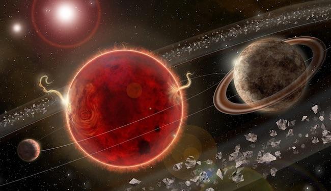 Ilustrasi sistem Proxima Centauri. Proxima c adalah planet kedua sistem ini dan berada di kanan. Kredit: Lorenzo Santinelli
