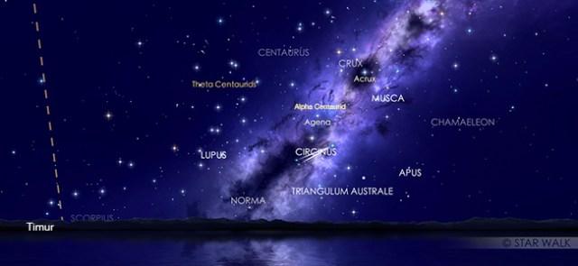 Hujan meteor minor alpha Centaurid pada tanggal 9 Februari pukul 01:00 WIB. Kredit: Star Walk