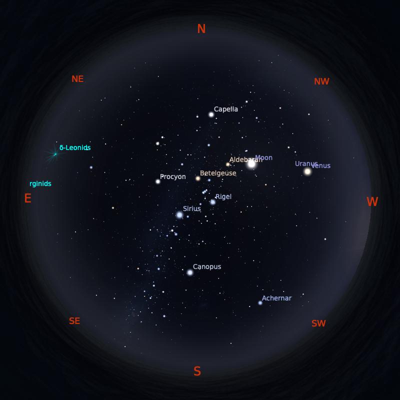 Peta Bintang 1 Maret 2020 pukul 19:00 WIB. Kredit: Stellarium