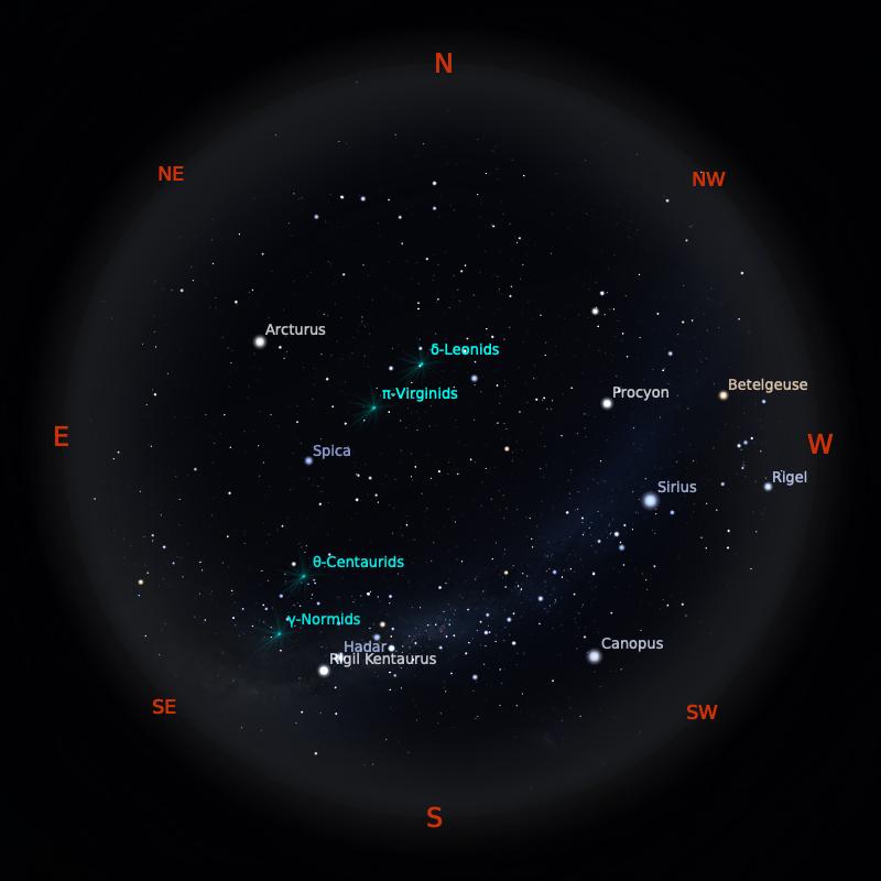 Peta Bintang 1 Maret 2020 pukul 23:59 WIB. Kredit: Stellarium