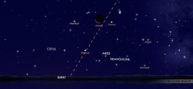 Pasangan Bulan dan Venus pada tanggal 28 Maret 2020 pukul 18:30 WIB. Kredit: Star Walk