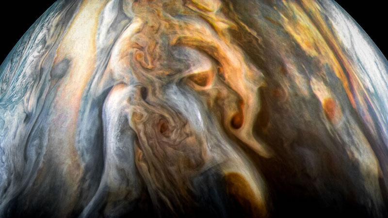Area selatan khatulistiwa Jupiter yang dipotret JunoCam Imager. Kredit: NASA/JPL-Caltech/SwRI/MSSS/Kevin M. Gill