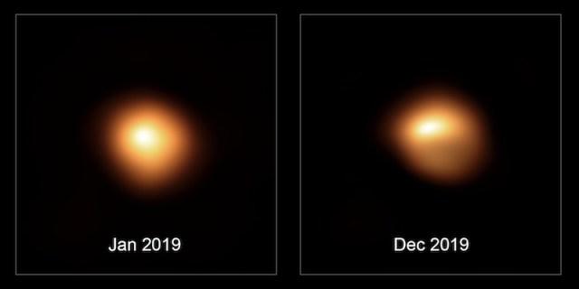 Perbandingan Betelgeuse ketika difoto Januari 2019 dan Desember 2019. Kredit: ESO / M. Montargès et al.