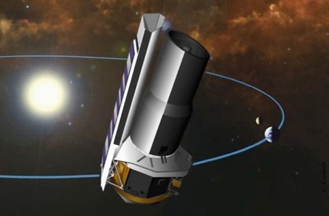 Orbit teleskop Spitzer. Kredit: NASA/ JPL-Caltech.