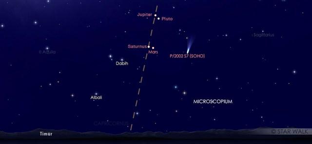 Mars dan Saturnus yang tampak dekat di langit malam pada tanggal 1 April 2020 pukul 02:30 WIB dini hari. Kredit: Star Walk.
