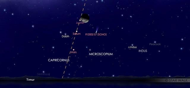 Bulan, Jupiter, dan Saturnus yang tampak dekat di langit malam pada tanggal 15 April 2020 pukul 02:00 WIB dini hari. Kredit: Star Walk.