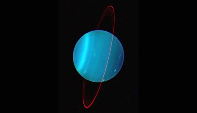 Uranus. Planet ini akan mengalami konjungsi dengan Matahari sehingga tidak dapat diamati di langit malam. Kredit: Lawrence Sromovsky, (Univ. Wisconsin-Madison), Observatorium, Keck