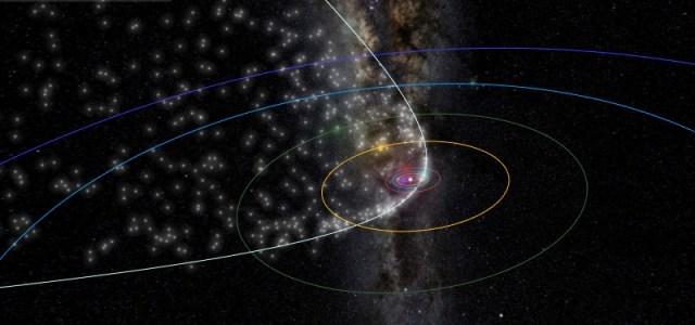 Hujan meteor Lyrid. Kredit: Data meteor oleh Peter Jenniskens, Visualisasi oleh Ian Webster. Dipublikasikan di meteorshowers.org