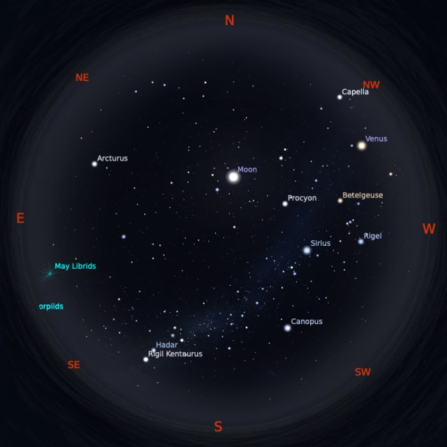 Peta Bintang 1 Mei 2020 pukul 19:00 WIB. Kredit: Stellarium