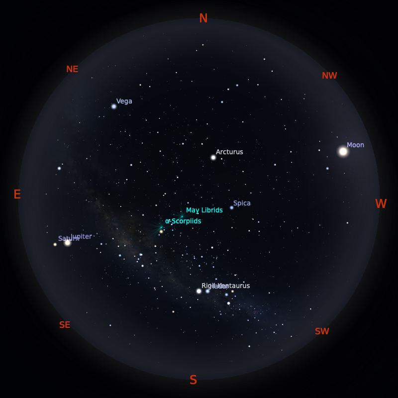Peta Bintang 1 Mei 2020 pukul 23:59 WIB. Kredit: Stellarium