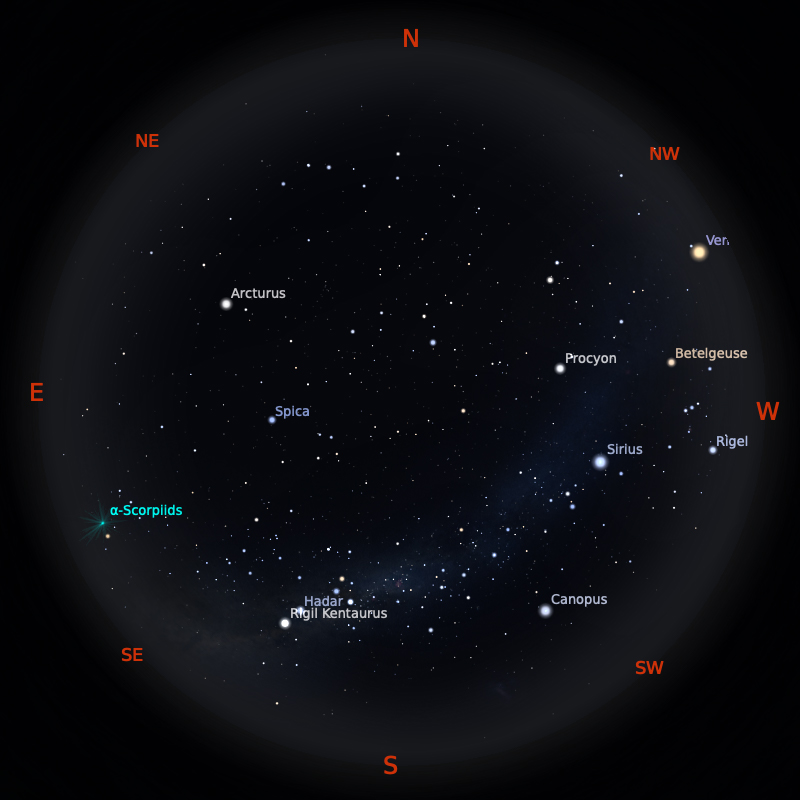 Peta Bintang 15 Mei 2020 pukul 19:00 WIB. Kredit: Stellarium