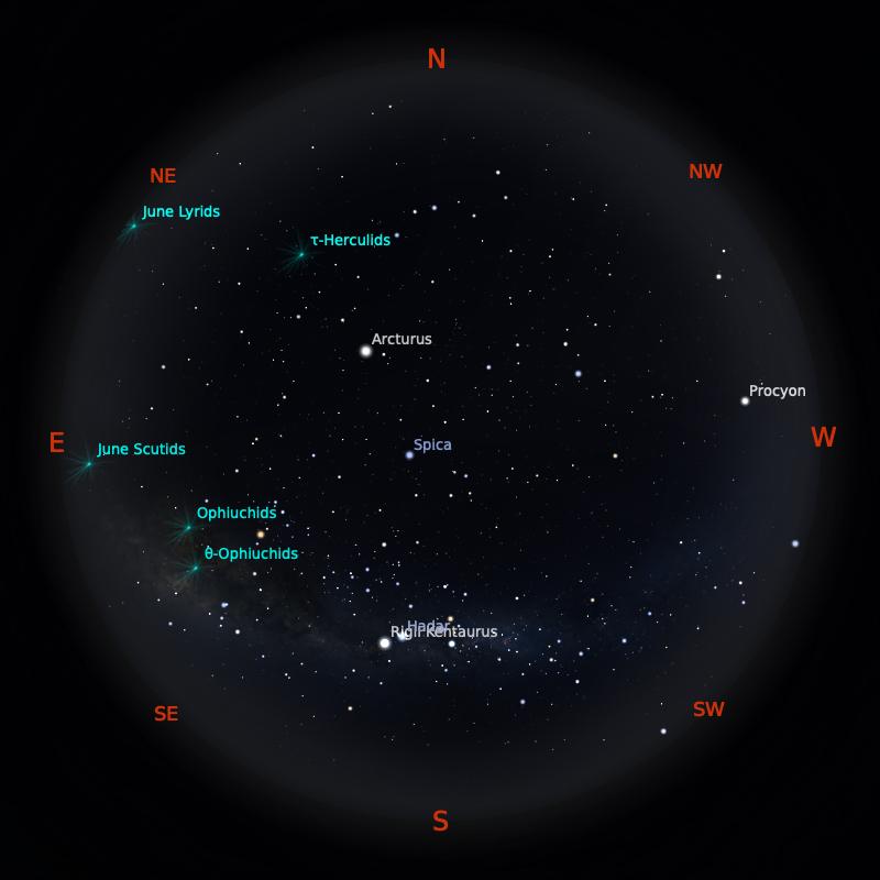 Peta Bintang 15 Juni 2020 pukul 19:00 WIB. Kredit: Stellarium