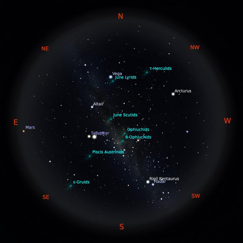 Peta Bintang 15 Juni 2020 pukul 23:59 WIB. Kredit: Stellarium