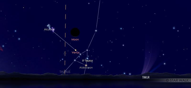 Pasangan Bulan dan Venus pada tanggal 19 Juni 2020 pukul 05:00 WIB. Kredit: Star Walk