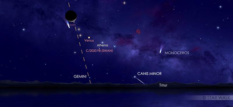 Pasangan Bulan - Venus 15 Agustus 2020 pukul 04:00 WIB.  Kredit: Star Walk