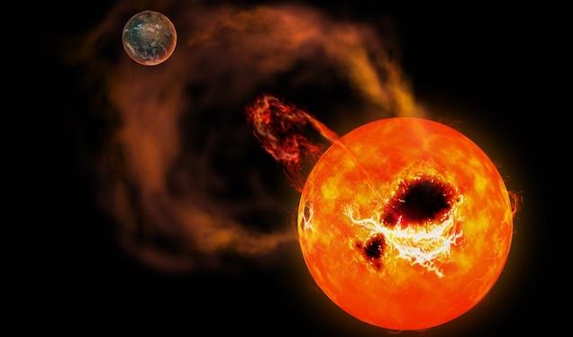 Suar pada bintang katai merah yang memiliki planet batuan pada jarak dekat. Kredit: NAOJ