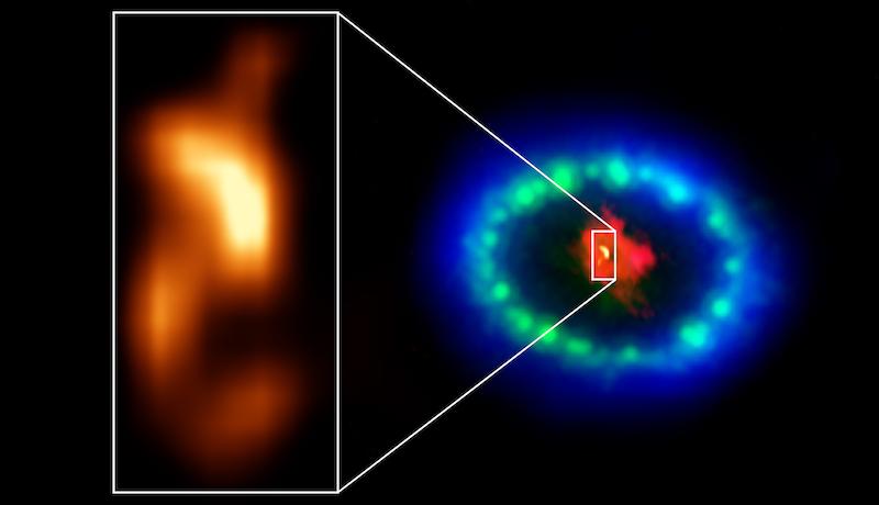 Gumpalan terang yang berhasil dipotret ALMA dari sisa reruntuhan supernova 1987A. Kredit: ALMA (ESO/NAOJ/NRAO), P. Cigan and R. Indebetouw; NRAO/AUI/NSF, B. Saxton; NASA/ESA