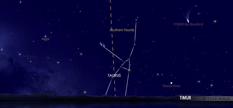 Hujan meteor Taurid Selatan tanggal 10 Oktober 2020 pukul 22:00 WIB. kredit: Star Walk