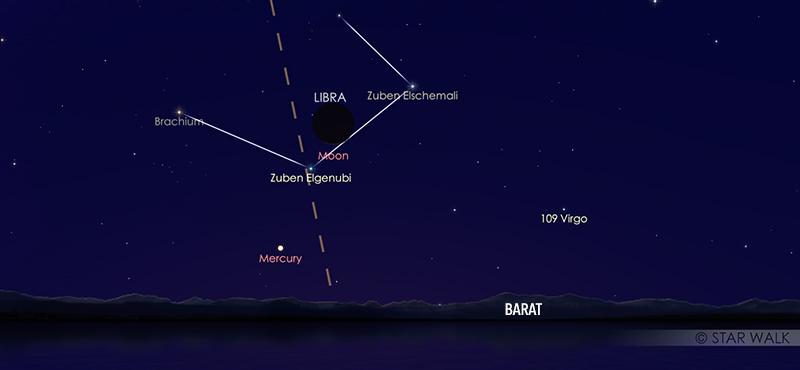 Pasangan Bulan dan planet Merkurius pada tanggal 15 Oktober 2020 pukul 18:15 WIB. Kredit: Star Walk