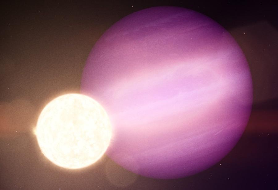 Ilustrasi pasangan bintang katai putih dan planet gas raksasa WD 1856b. Kredit: NASA's Goddard Space Flight Center