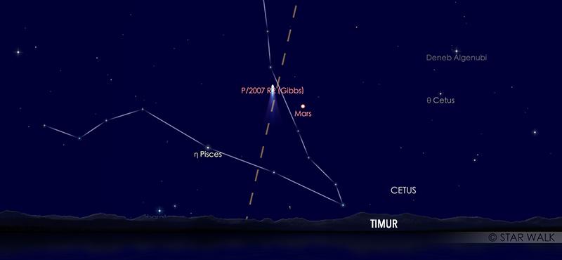Mars saat oposisi tanggal 14 Oktober 2020 dilihat pada pukul 18:30 WIB. Mars bisa diamati sepanjang malam. Mars bisa diamati di ufuk timur sejak Matahari terbenam, dan terus bergerak ke barat sampai fajar. Kredit: Star Walk