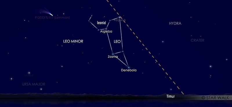 Hujan meteor Leonid saat dilihat tanggal 17 November 2020 pukul 03:00 WIB. Kredit: Star Walk
