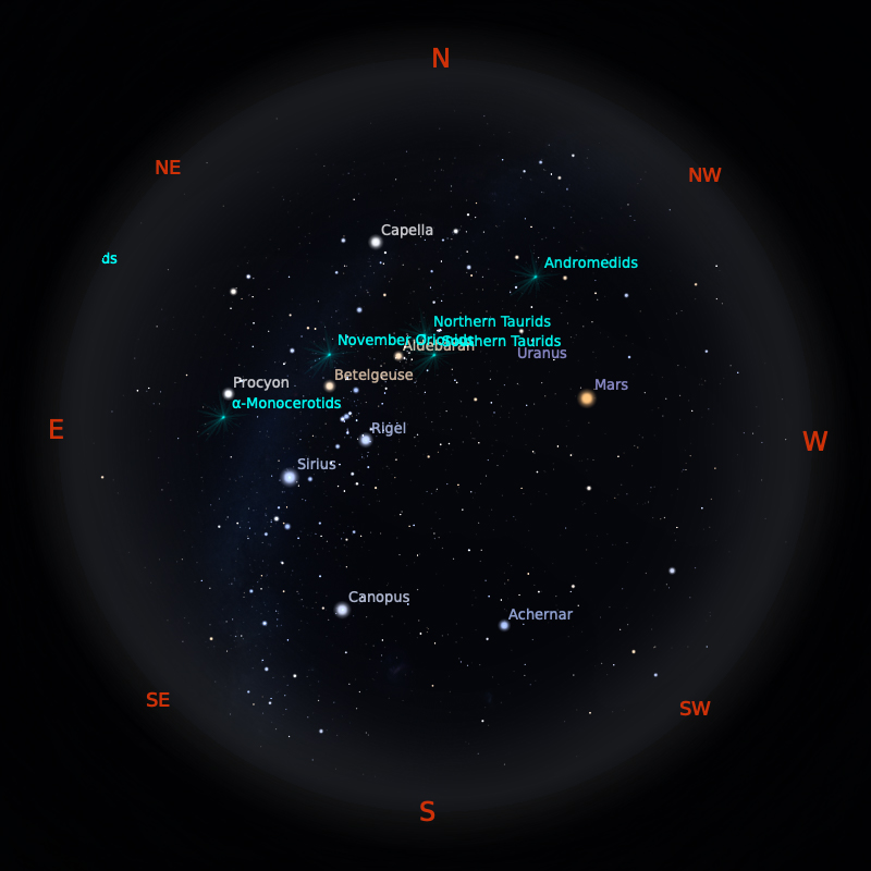 Peta Bintang 15 November 2020 pukul 23:59 WIB. Kredit: Stellarium