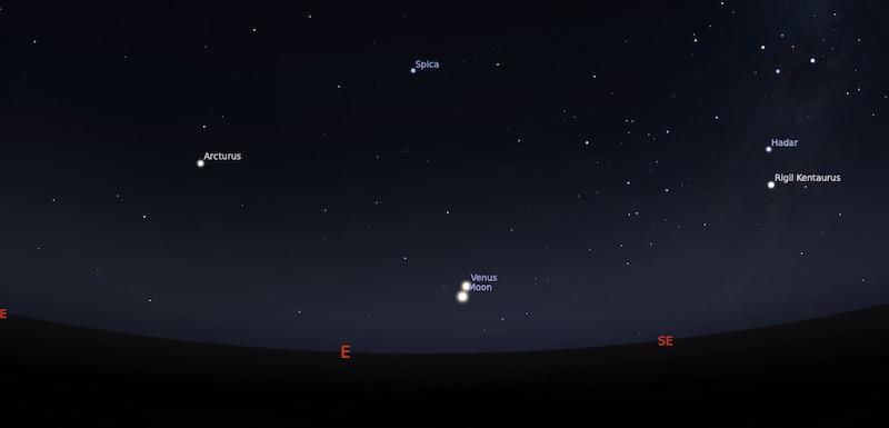 Pasangan Bulan dan Venus tanggal 13 Desember 2020 pukul 04:30 WIB. Kredit: Stellarium