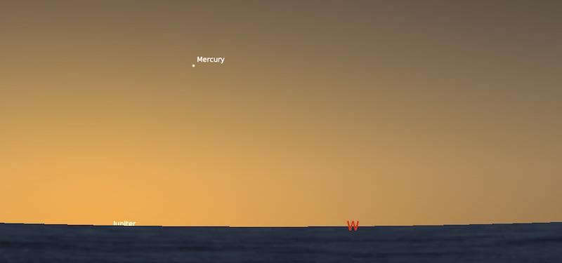 Merkurius pada titik tertingginya. Kredit: Stellarium