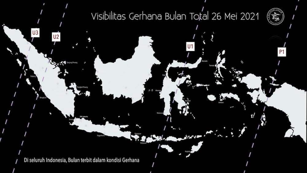 Kenampakan Gerhana Bulan Total 26 Mei 2021 dari Indonesia. Kredit: langitselatan