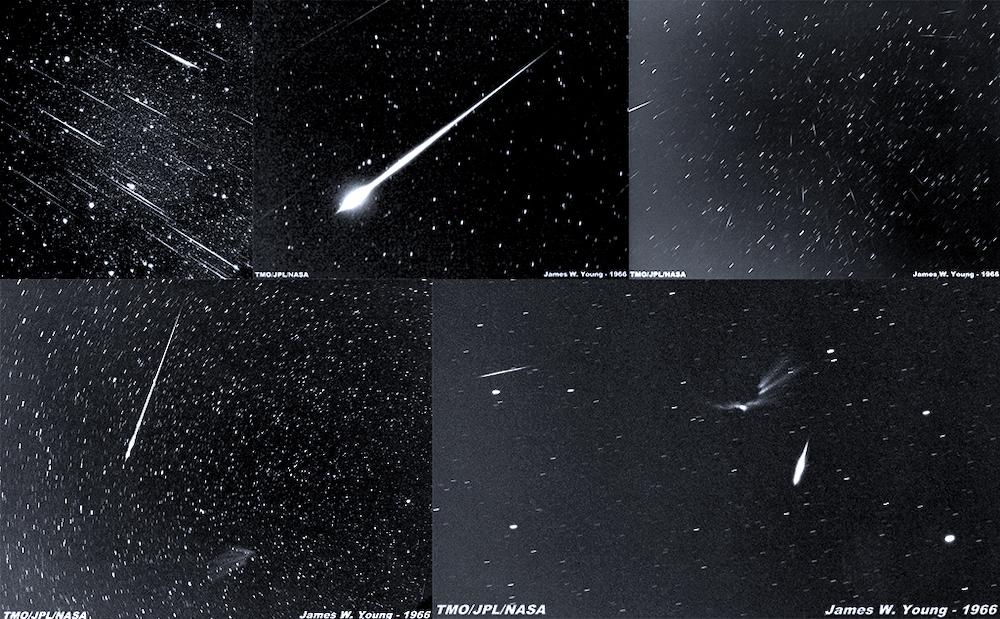Hujan meteor Leonid tahun 1966. Kredit: NASA-ARC, A. Scott Murrell dan James W. Young