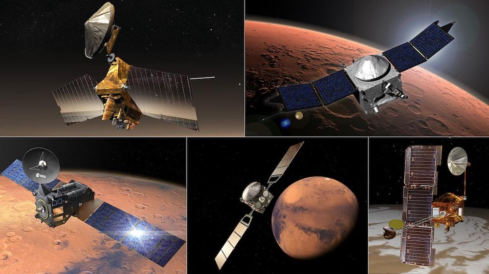 Jaringan relai Mars untuk mengirimkan data rover Mars. Ki-ka: Mars Reconnaissance Orbiter (MRO), Mars Atmospheric and Volatile EvolutioN (MAVEN), Mars Odyssey, dan Mars Express and Trace Gas Orbiter (TGO). Kredit: NASA/JPL-Caltech, ESA