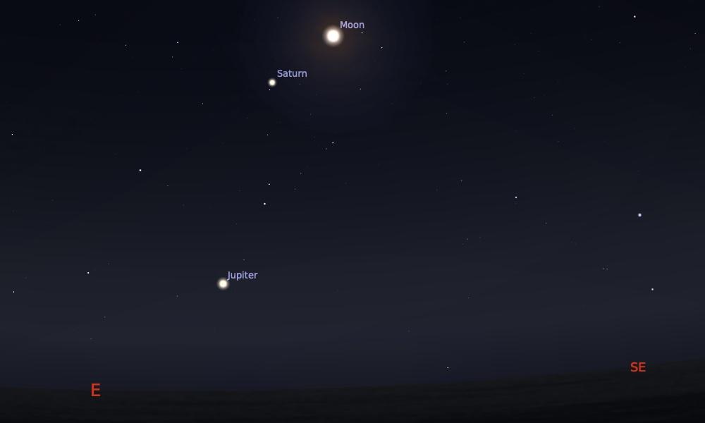 Konjungsi Bulan dan Saturnus tanggal 31 Mei 2021 saat pukul 00:00 WIB. Kredit: Stellarium