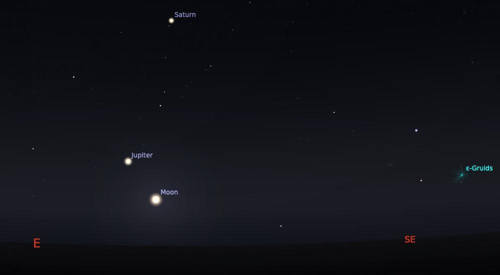 Pasangan Bulan dan Jupiter tanggal 1 Juni 2021 pukul 23:59 WIB dan bisa diamati sampai fajar menyingsing. Kredit: Stellarium