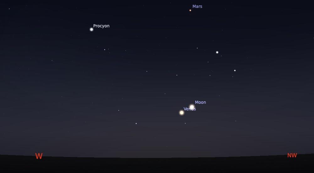 Pasangan Bulan sabit tipis dan Venus kala senja pada pukul 18:30 WIB. Kredit: Stellarium