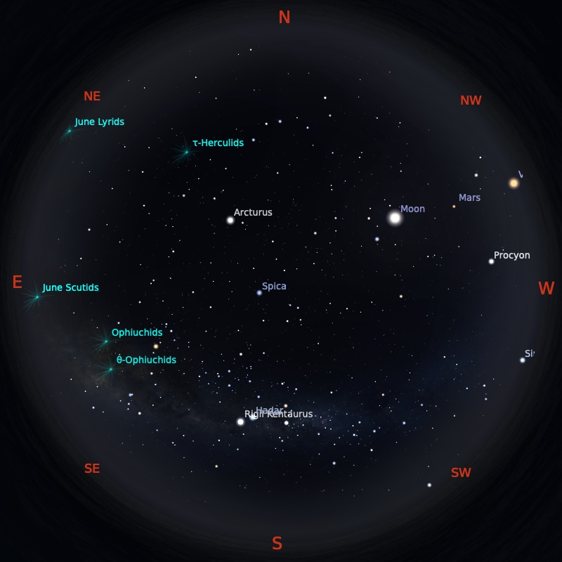 Peta Bintang 15 Juni 2021 pukul 19:00 WIB. Kredit: Stellarium