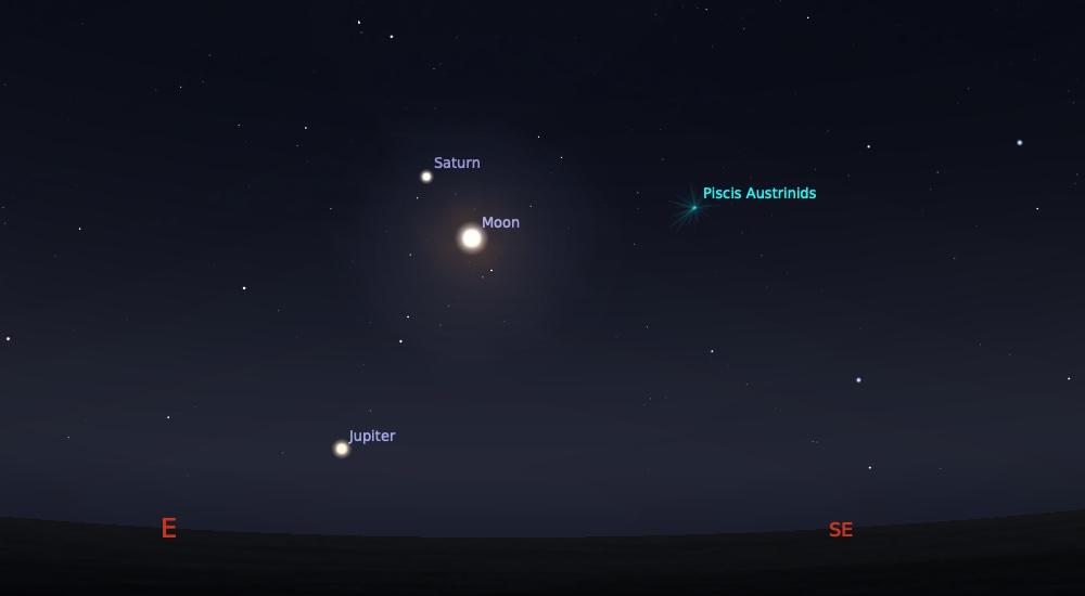 Perjumpaan Bulan Saturnus tanggal 27 Juni 2020 pada pukul 22:00 WIB. Kedua objek ini bisa diliat sampai jelang Matahari terbit. Kredit: Stellarium