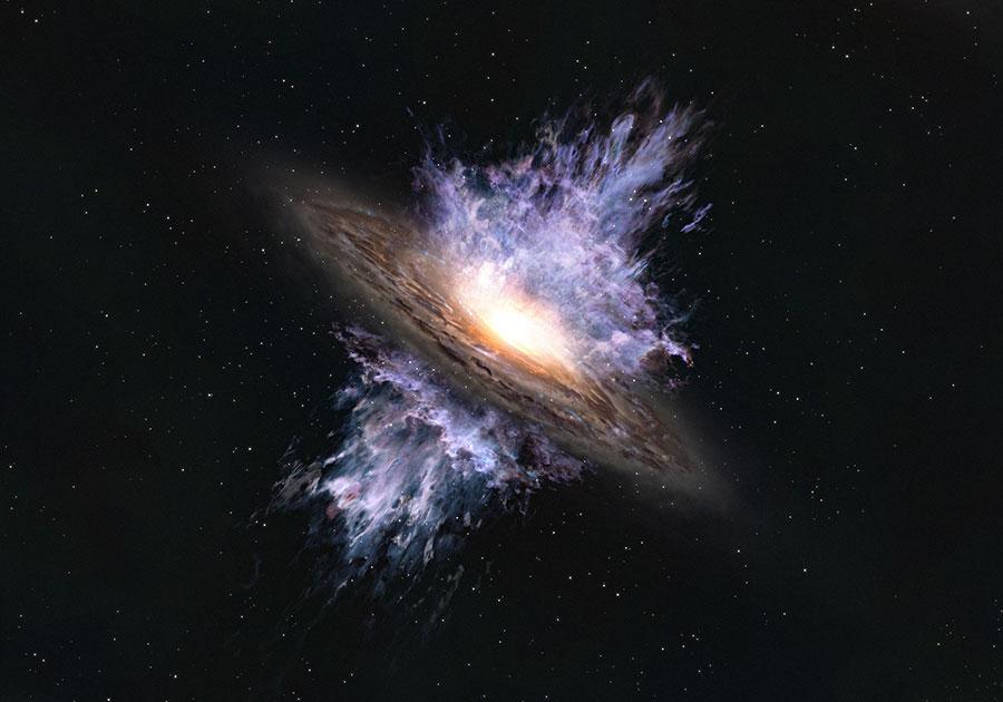 Ilustrasi angin galaksi yang bertiup dari lubang hitam supermasif di pusat galaksi. Kredit:  ALMA (ESO/NAOJ/NRAO)