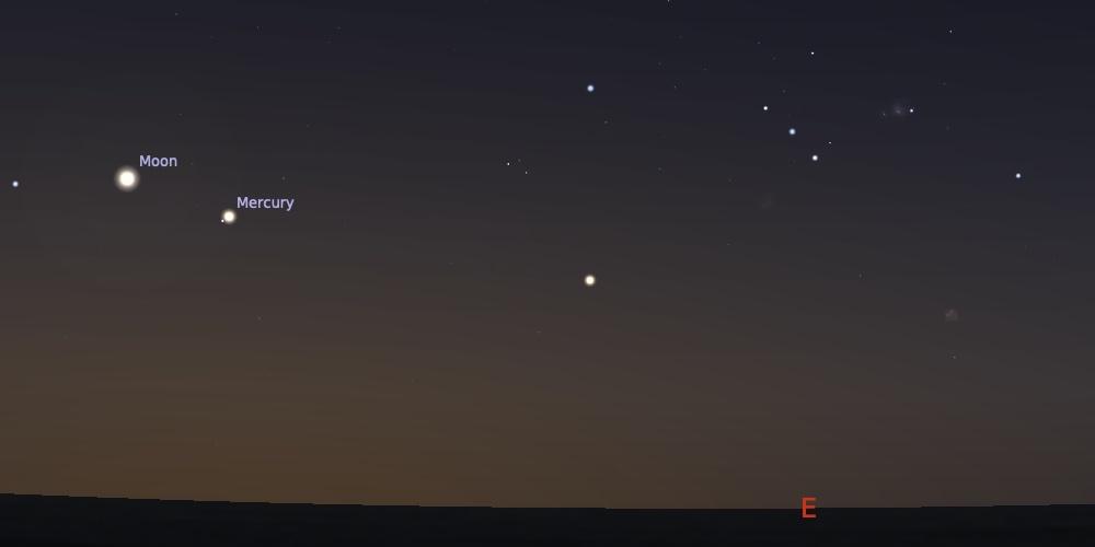 Pasangan Bulan Merkurius tanggal 8 Juli 2021 pukul 05:30 WIB. Kredit: Stellarium