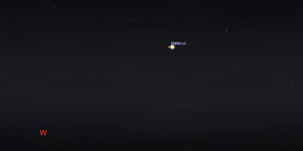 Pasangan planet Venus dan Mars pada tanggal 13 Juli 2021 pukul 19:00 WIB. Kredit: Stellarium
