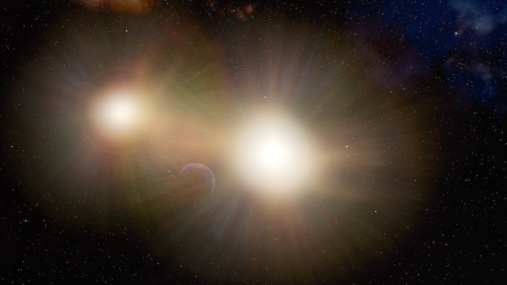 Ilustrasi exoplanet di bintang ganda dan planet tampak hilang di balik cahaya bintang yang sangat terang.  Kredit: International Gemini Observatory/NOIRLab/NSF/AURA/J. da Silva