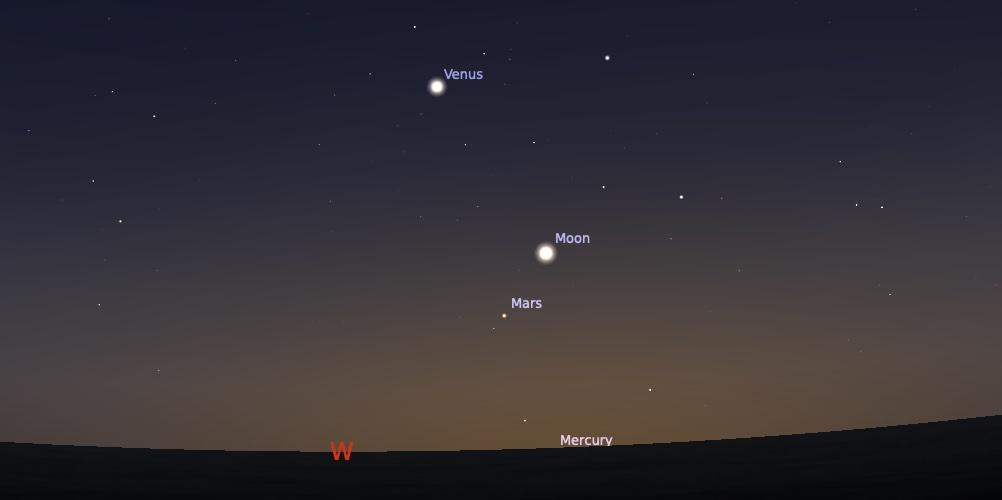 Pasangan Bulan Mars tanggal 10 Agustus 2021 pukul 18:30 WIB. Kredit: Stellarium