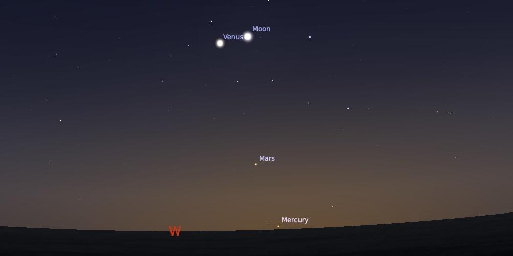 Pasangan Bulan dan Venus tanggal 11 Agustus 2021 pukul 18:30 WIB. Kredit: Stellarium