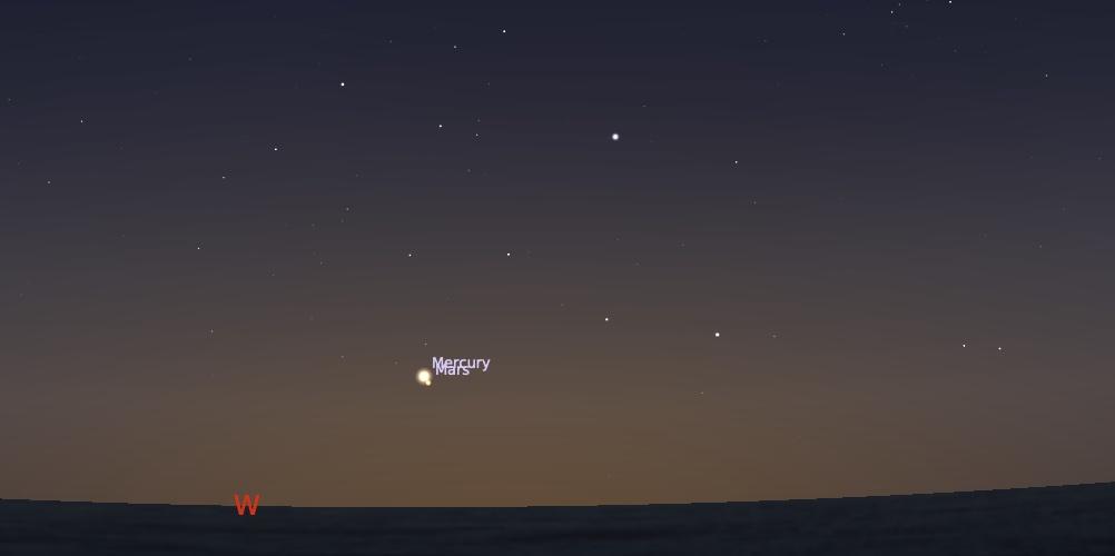 Pasangan Merkurius dan Mars tanggal 19 Agustus 2021 pukul 18:30 WIB. Kredit: Stellarium