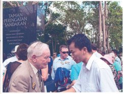 Bunny Glover [left] and Christopher Liew at Sandakan Memorial Day, Sandakan Memorial Park, Sandakan, 15 August, 2011. Photo © Skyler Liew