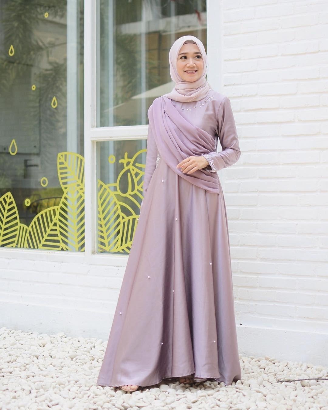 baju kondangan simple hijab dengan dress kekinian