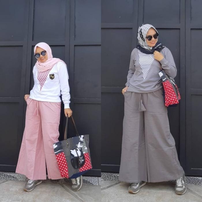 baju setelan celana hijab yang gayanya chic
