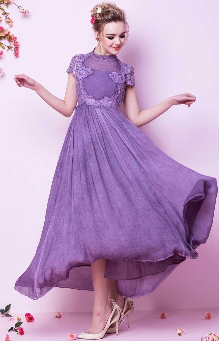 Dress pesta lengan pendek ungu